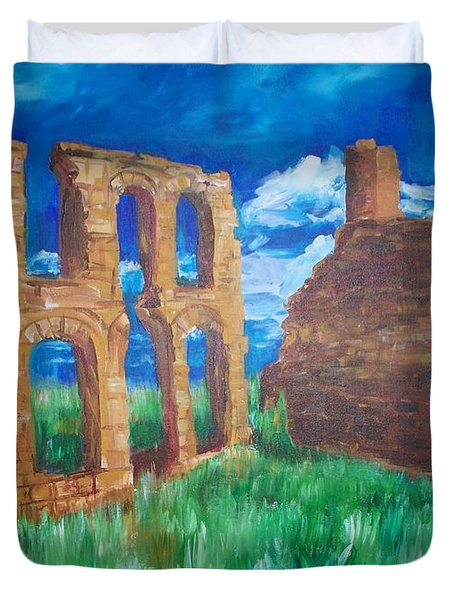 Duvet Cover featuring the painting  Ghost Town  by Eric  Schiabor