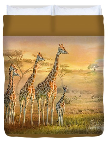 Duvet Cover featuring the digital art  Giraffe Family by Trudi Simmonds