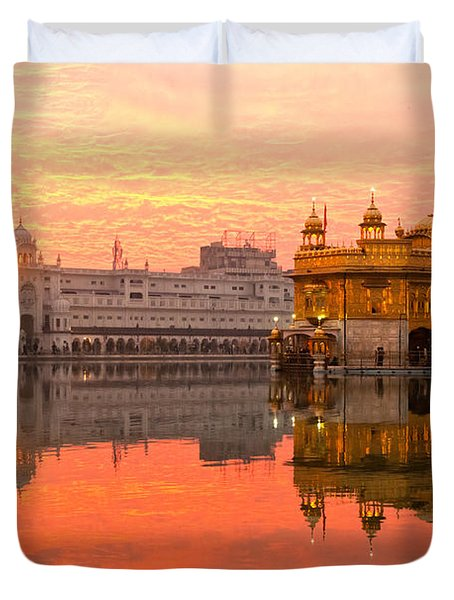 Duvet Cover featuring the photograph  Golden Temple by Luciano Mortula
