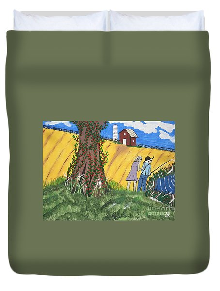 Duvet Cover featuring the painting  I Got A Big One. by Jeffrey Koss