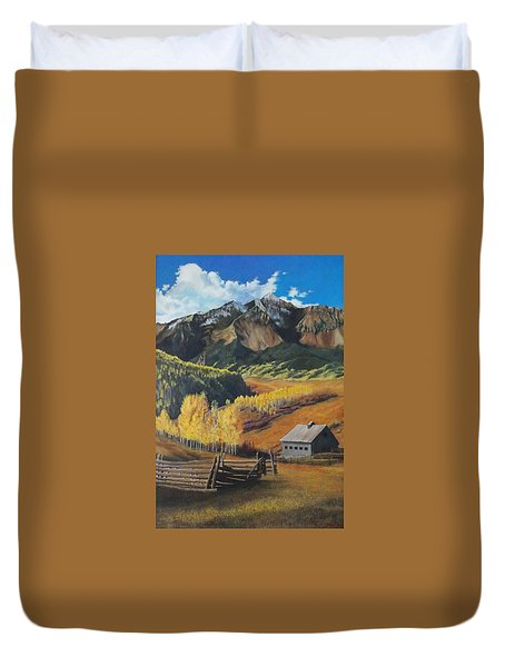 I Will Lift Up My Eyes To The Hills Autumn Nostalgia  Wilson Peak Colorado Duvet Cover by Anastasia Savage Ealy