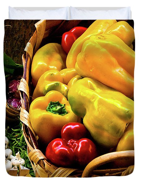 Duvet Cover featuring the photograph  Italian Peppers  by Harry Spitz