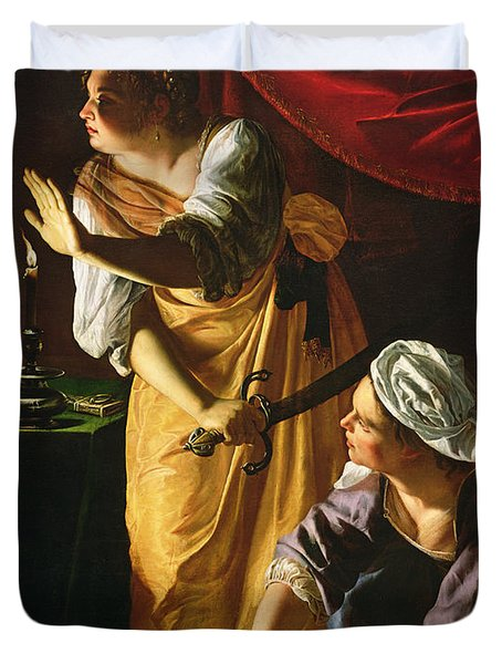 Judith And Maidservant With The Head Of Holofernes Duvet Cover by Artemisia Gentileschi