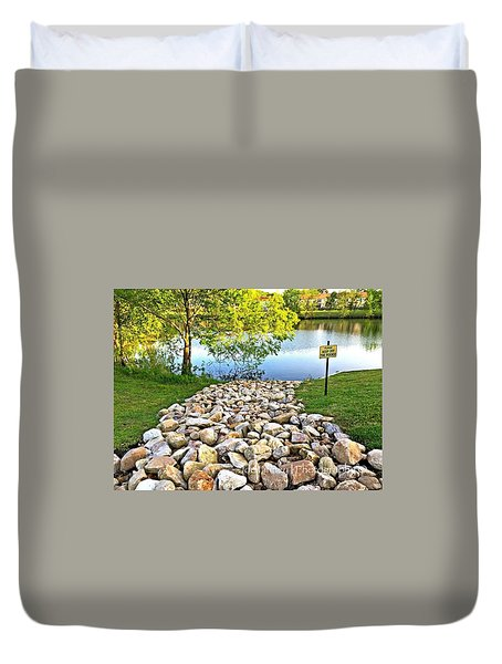 Duvet Cover featuring the photograph  Keep Off The Rocks - No.430 by Joe Finney