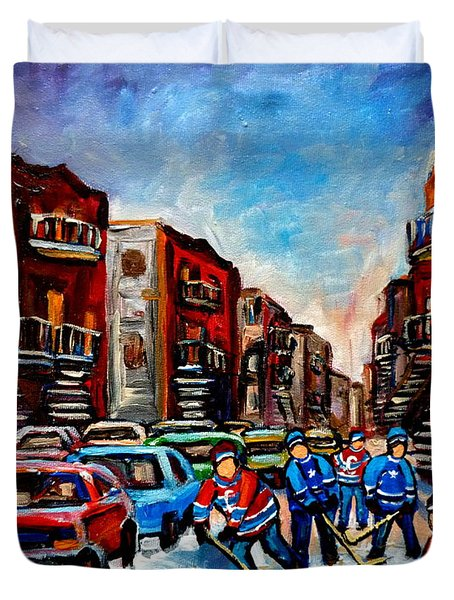 Late Afternoon Street Hockey Duvet Cover by Carole Spandau