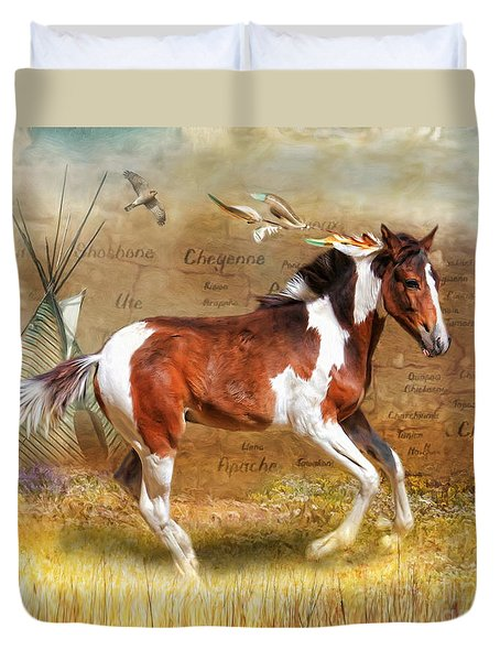 Duvet Cover featuring the digital art  Little Apache by Trudi Simmonds