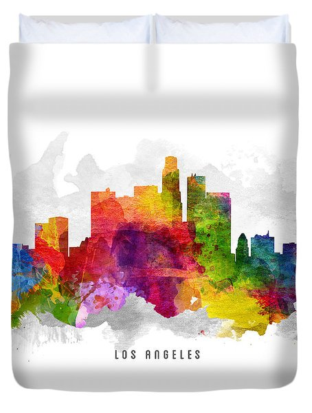 Los Angeles California Cityscape 13 Duvet Cover by Aged Pixel