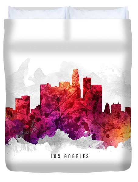 Los Angeles California Cityscape 14 Duvet Cover by Aged Pixel