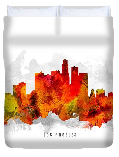 Los Angeles California Cityscape 15 Duvet Cover by Aged Pixel
