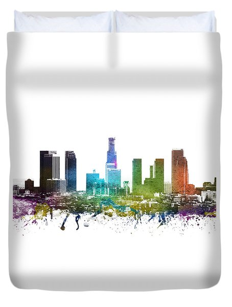 Los Angeles Cityscape 01 Duvet Cover by Aged Pixel