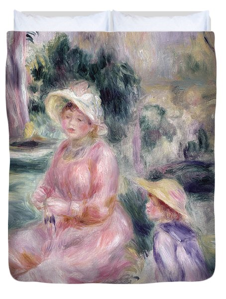 Madame Renoir And Her Son Pierre Duvet Cover by Pierre Auguste Renoir