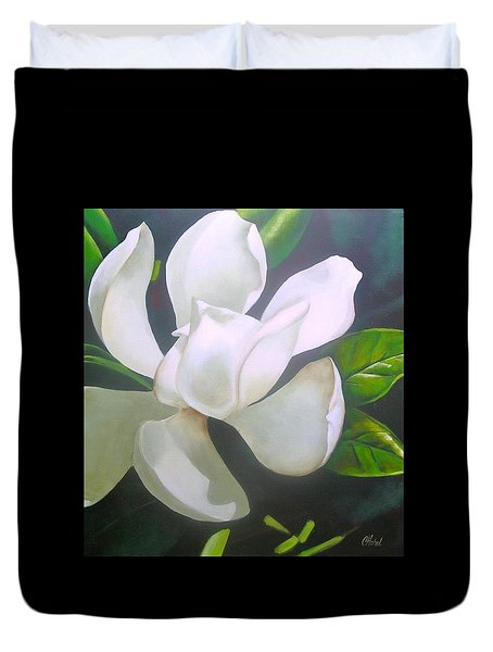 Magnolia Delight Painting Duvet Cover by Chris Hobel