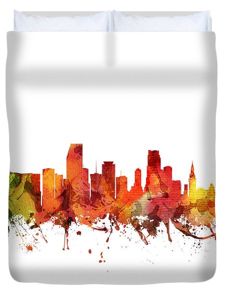 Miami Cityscape 04 Duvet Cover by Aged Pixel