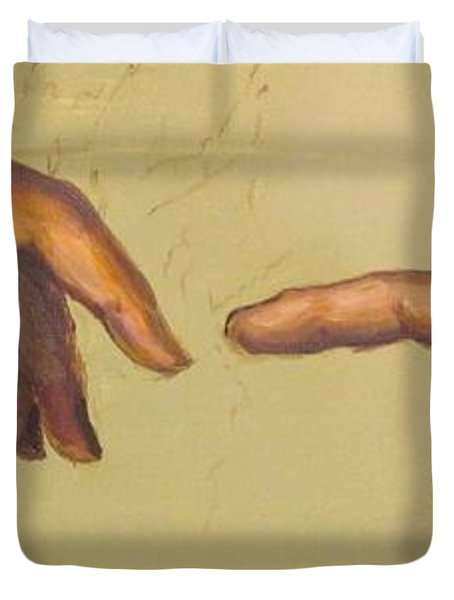 Michelangelos Creation Of Adam 1510 Duvet Cover