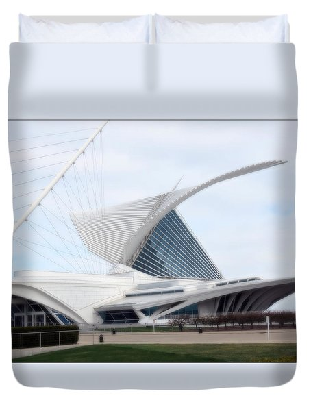 Duvet Cover featuring the photograph  Milwaukee Art Museum by Kay Novy