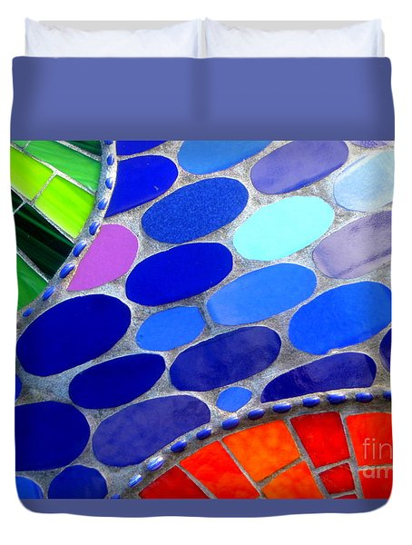 Mosaic Abstract Of The Blue Green Red Orange Stones Duvet Cover by Michael Hoard
