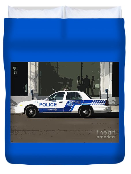 Montreal Police Car Poster Art Duvet Cover by Reb Frost