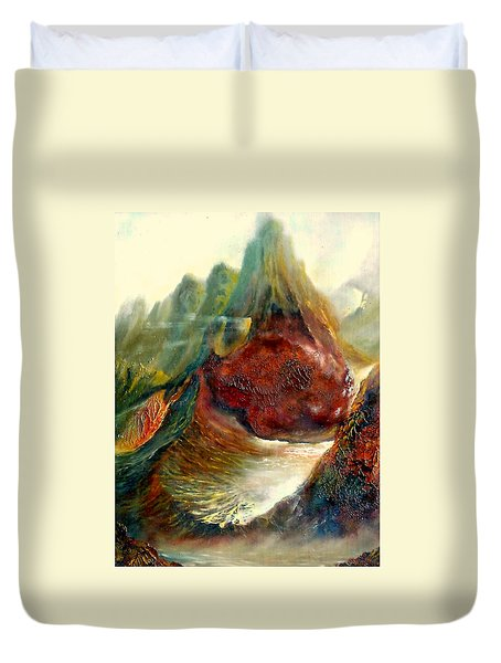 Duvet Cover featuring the painting  Mountains Fire by Henryk Gorecki