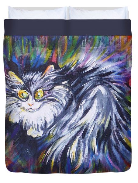 Duvet Cover featuring the painting  Mrs.curiosity  by Anna  Duyunova