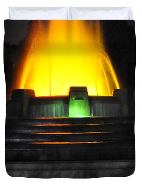 Mulholland Fountain Reflection Duvet Cover by Clayton Bruster