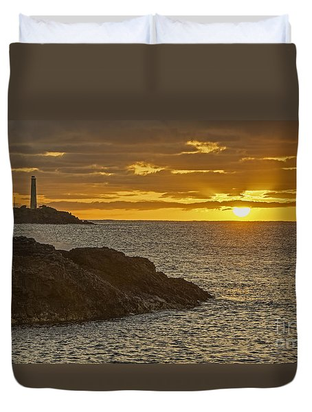Ninini Point Lighthouse Sunrise Duvet Cover