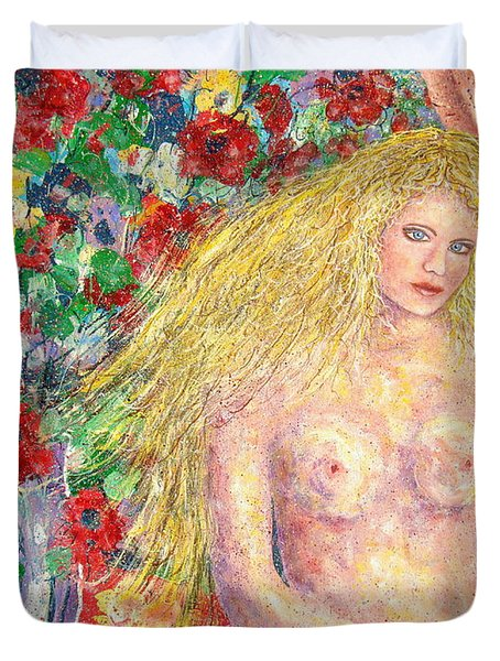 Duvet Cover featuring the painting  Nude Fantasy by Natalie Holland