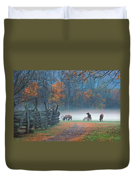 Oconaluftee Visitor Center Elk Duvet Cover