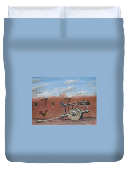 Duvet Cover featuring the painting  Old Spanish Cart  by Oz Freedgood