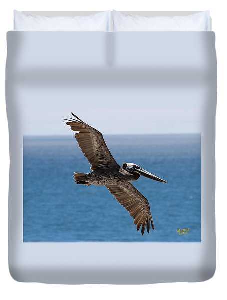 Pelican Flying Wings Outstretched Duvet Cover