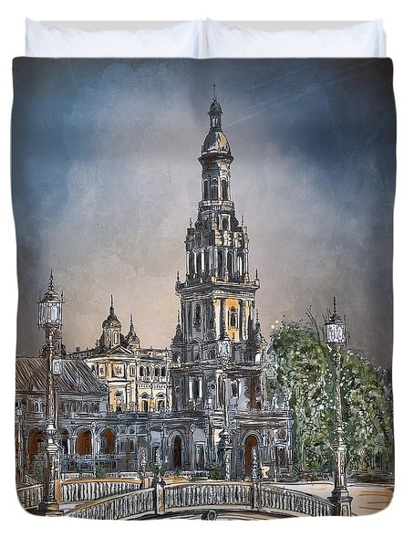 Plaza De Espana In Seville Duvet Cover