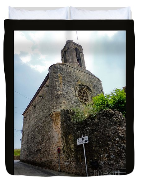 Duvet Cover featuring the photograph  Pubol Spain Church by Gregory Dyer