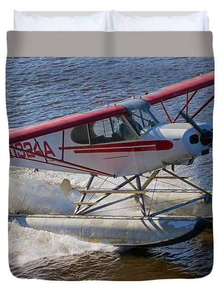 River Take Off In Fairbanks Duvet Cover by Allan Levin