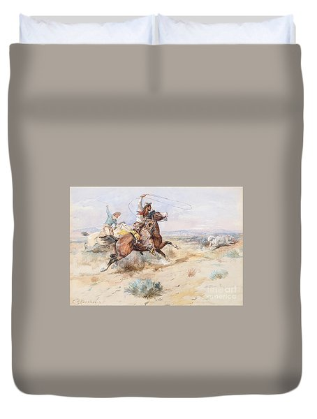 Roping A White Wolf  Duvet Cover