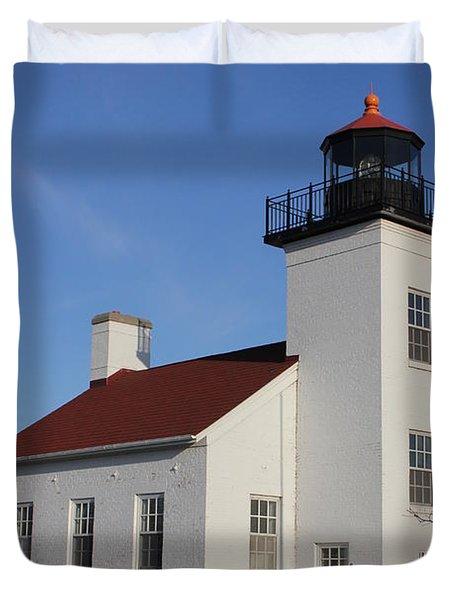 Sand Point Lighthouse Escanaba Duvet Cover