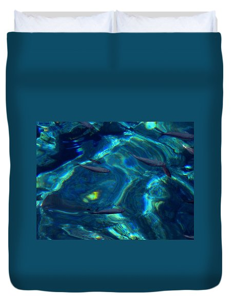 Duvet Cover featuring the photograph  Santorini  Ocean Water Reflections Greece by Colette V Hera  Guggenheim