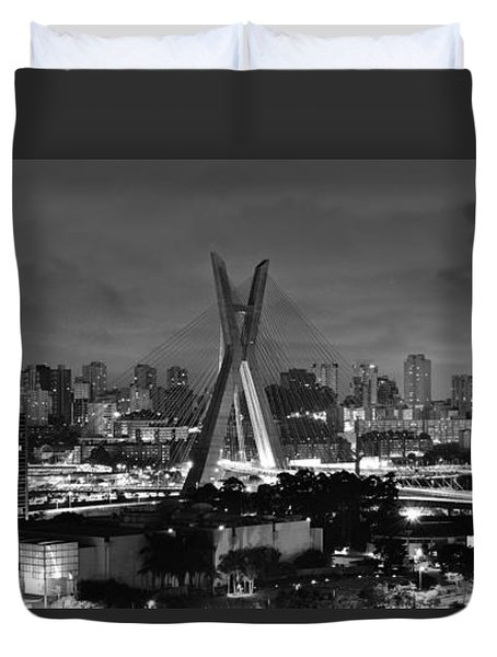 Sao Paulo Iconic Skyline - Cable-stayed Bridge - Ponte Estaiada Duvet Cover