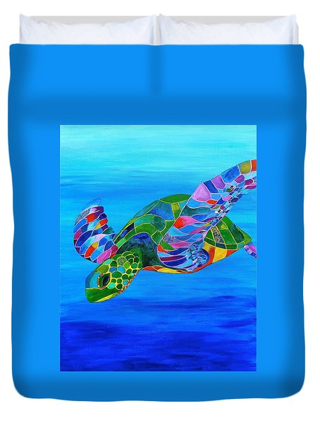 Abstract Mehndi Sea Turtle  Duvet Cover