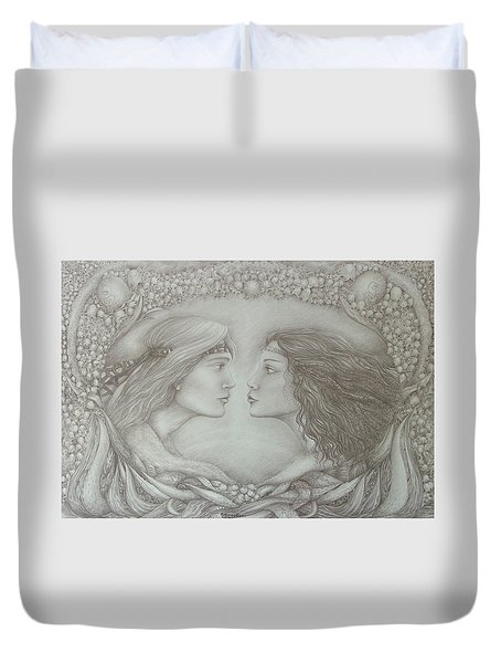 Spring Lovers With Snowdrops Duvet Cover