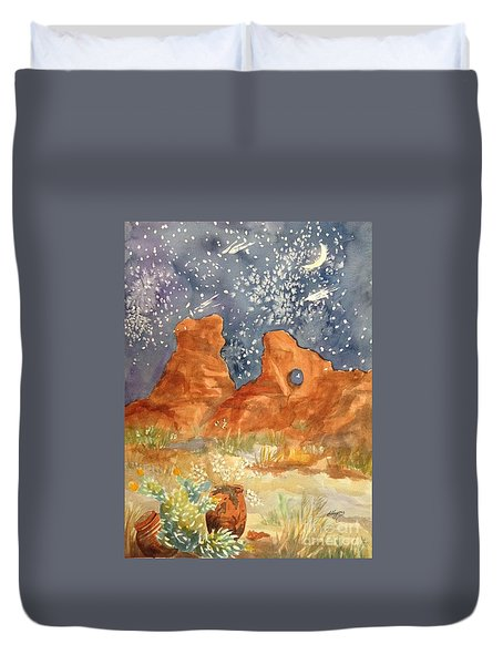 Starry Night In The Desert Duvet Cover