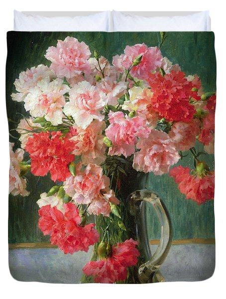 Still Life Of Carnations   Duvet Cover by Emile Vernon