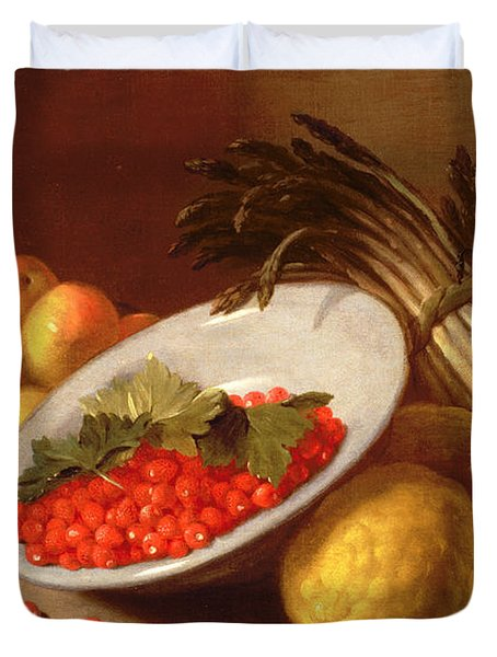 Still Life Of Raspberries Lemons And Asparagus  Duvet Cover by Italian School