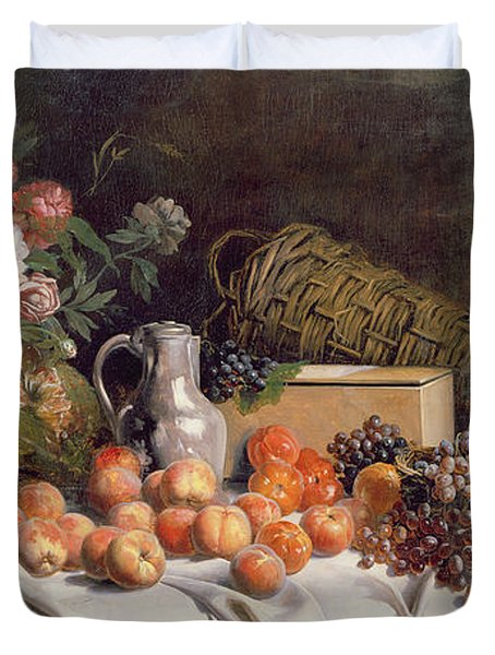 Still Life With Flowers And Fruit On A Table Duvet Cover