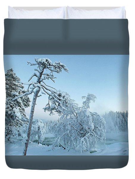 Magic Blue  Storforsen Waterfall  Duvet Cover