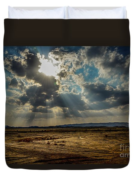 Stormy  Light Rays  Duvet Cover