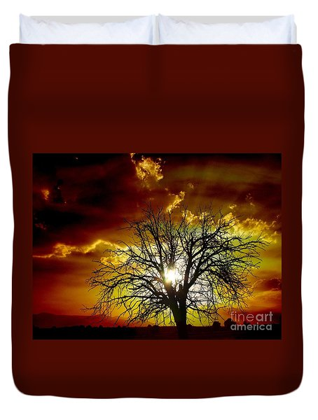 '' Sunset Tree ''  Duvet Cover by Vassilis Tagoudis