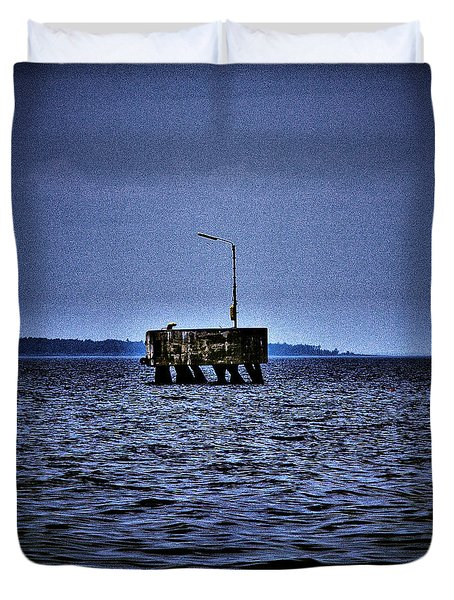 Duvet Cover featuring the photograph  The Dock Of Loneliness by Jouko Lehto