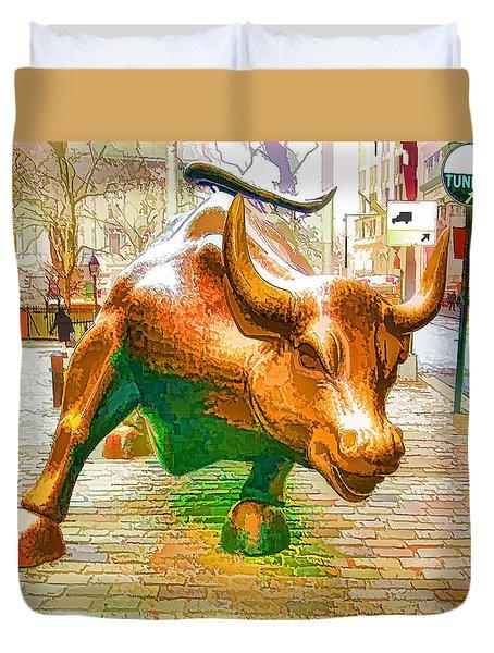 The Landmark Charging Bull In Lower Manhattan  Duvet Cover