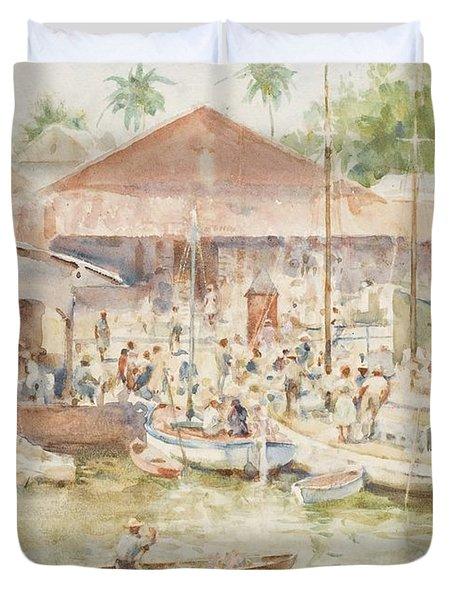 The Market Belize British Honduras Duvet Cover by Henry Scott Tuke