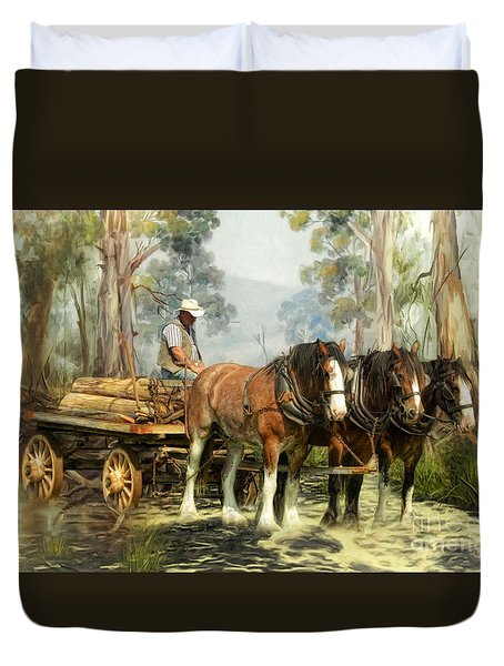 Duvet Cover featuring the digital art  The Timber Team by Trudi Simmonds
