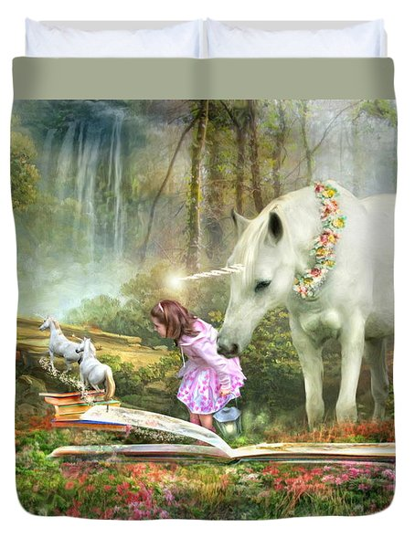 Duvet Cover featuring the digital art  The Unicorn Book Of Magic by Trudi Simmonds